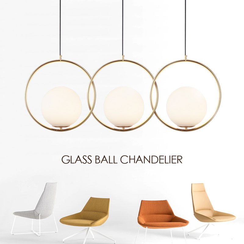 Post Modern Milky Glass Pendant Lamp Hanging Round Gold Light Decorative Indoor Restaurant