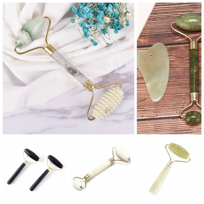 Facial Massage Crystal Stone Body Jade Massager Derma Roller Skincare Ice Roller Wrinkle Removal Beauty Tool 5Styles