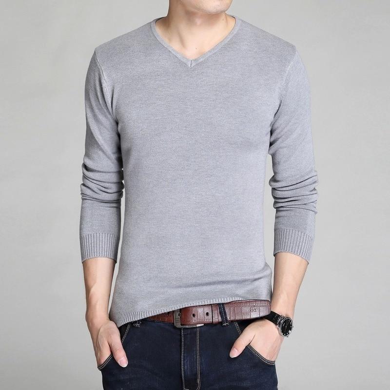 Мужские свитера 2019, модная брендовая одежда, приталенные вязаные мужские свитера и пуловеры, блузка, повседневные мужские свитера с V-образн...