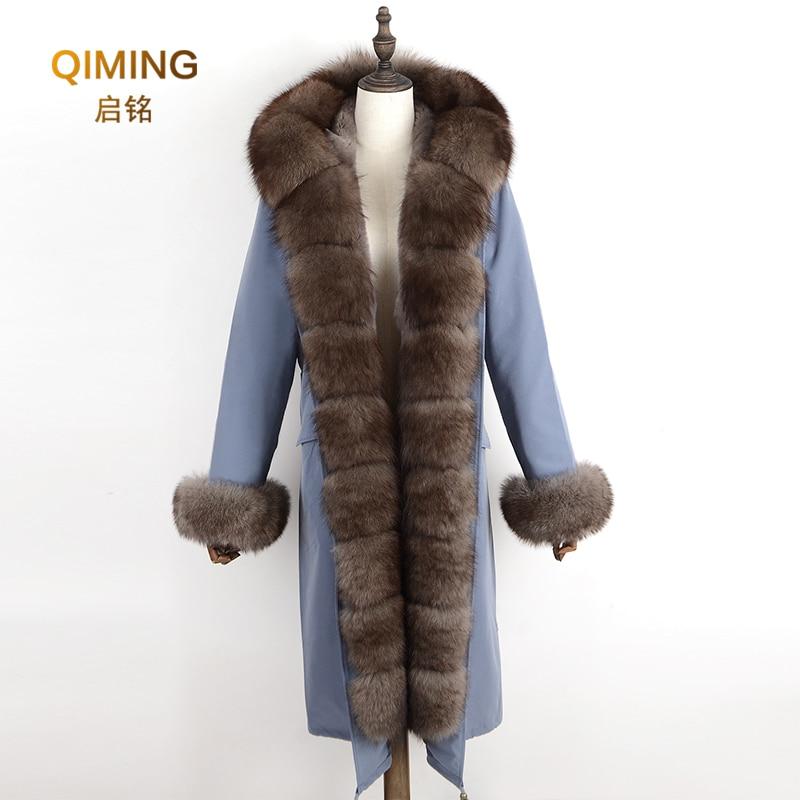Natural real fox fur Fashion Jacke coat Real Fox Fur Collar Cuff Hooded Coat Short Parka Long Solid color winter jacket #P1