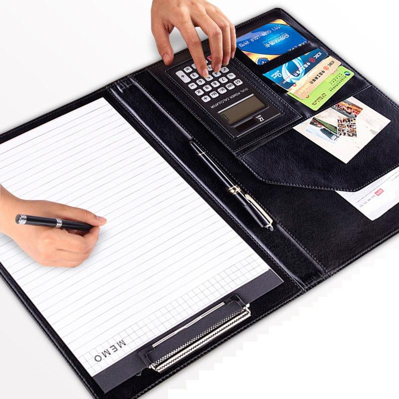 Carpeta de cuero PU A4 con calculadora, organizador de material de oficina multifunción, Padfolio, maletín