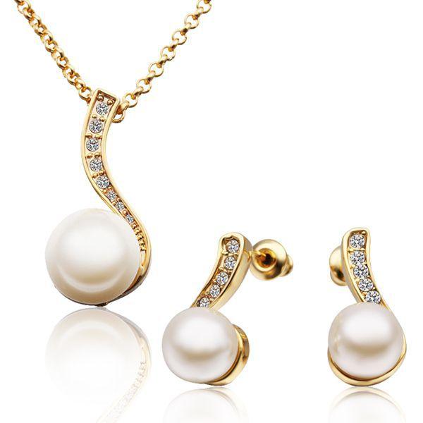 Nrs10424g # preço barato latão liga acessórios do casamento pérola conjunto de jóias com strass