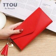 TTOU Модный женский длинный кошелек с кисточкой, качественный кожаный кошелек, многофункциональный Женский кошелек с отделением для карт, Женский кошелек для монет