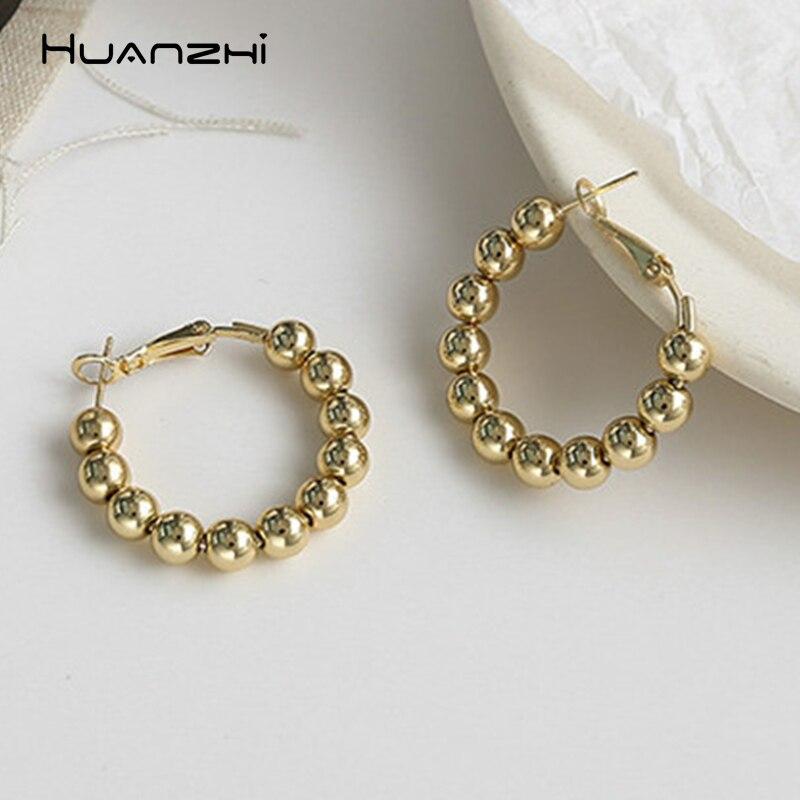 Женские серьги-кольца из металла HUANZHI, корейские простые круглые серьги с имитацией жемчуга, 2019