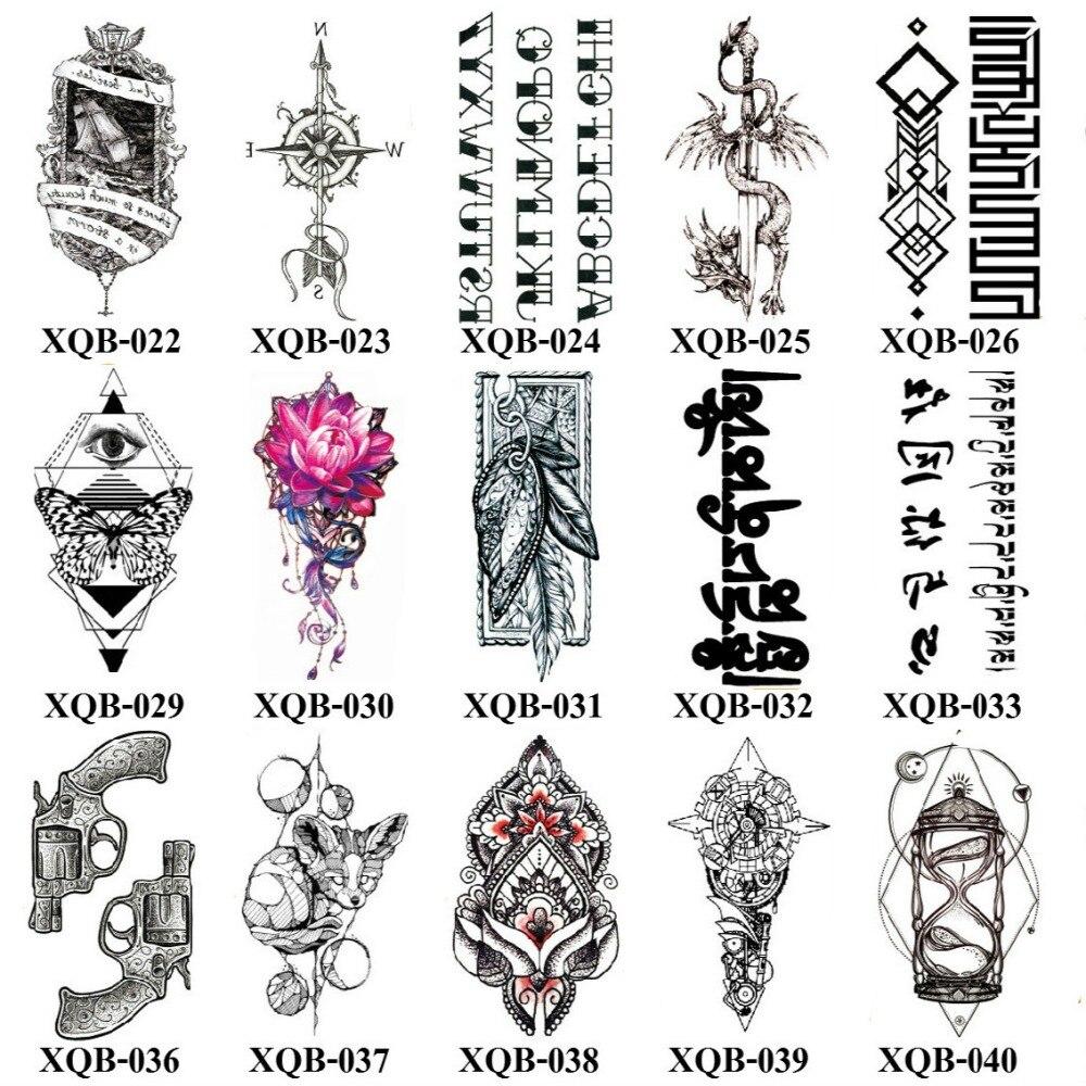 Venta al por mayor 500 piezas nuevo XQB serie 21x11 CM del tatuaje etiqueta engomada del tatuaje único tatuaje temporal impermeable tatuaje temporal único cuerpo tatuajes