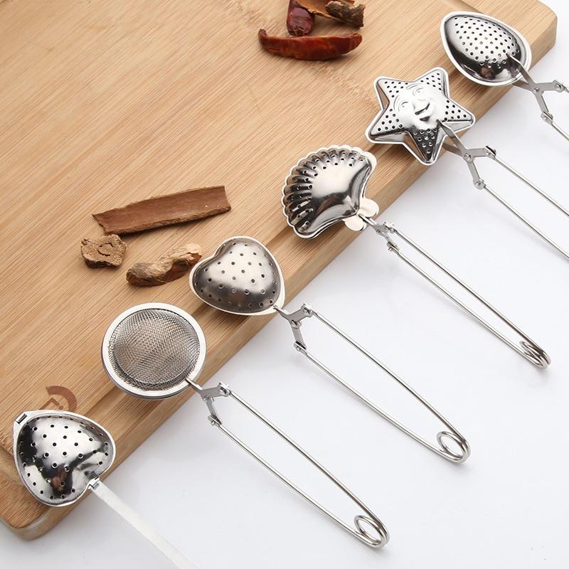 Colador de té con mango de acero inoxidable, 1 unidad, Bola de té, filtro de té a granel, mango de goteo, condimento, olla caliente, Infusor de bolas, utensilios de cocina