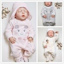 Kavkas-barboteuse pour bébés filles   Combinaisons dhiver chaudes et épaisses en velours pour bébés filles, salopette à manches longues 0-24M