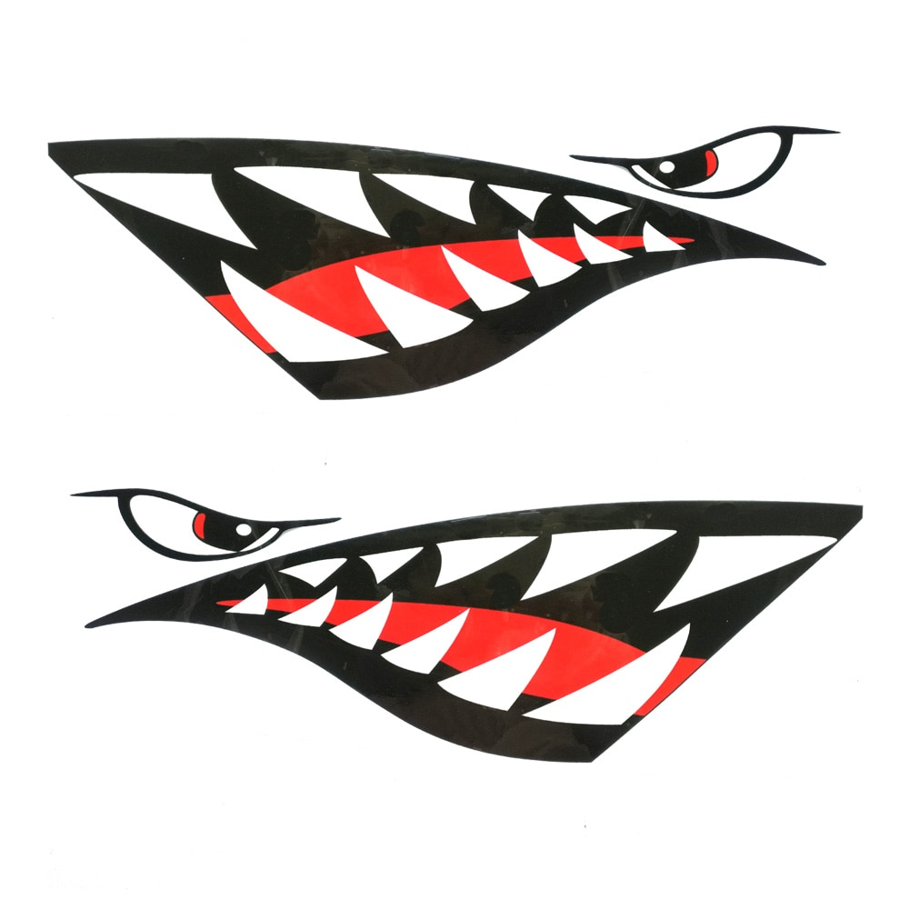 Pelekat kayak 2pc pelindung mulut gigi hiu kalis air decal sampan - Sukan air - Foto 2