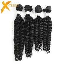 X-TRESS Funmi Lockige Synthetische Haar Weben 4 Bundles Natürliche Schwarze Farbe Kurze Haare Schuss Extensions Hohe Temperatur Faser Weben