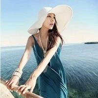 2015 summer womens foldable wide large brim beach sun hat straw beach cap for ladies elegant hats girls vacation tour hat