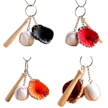 Mode Mini Drei-stück Sport Stil Schlüsselbund baseball handschuh holz bat schlüsselbund schlüsselbund fans souvenir party geschenke