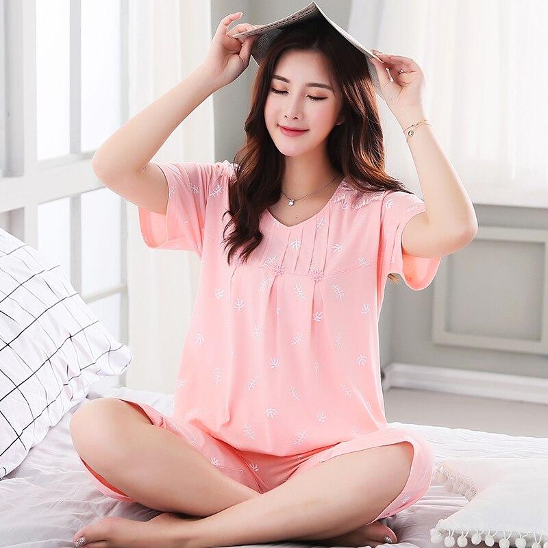 New Summer Elegant Floral Women's Pajamas Cotton Pajama Sets Girls Sleepwear Mujer Pyjamas Plus Size 3XL Casual Home Clothing