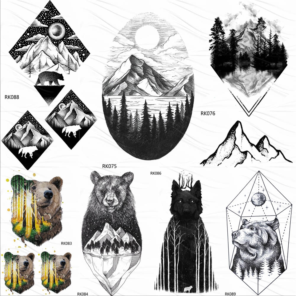 Временные татуировки OMMGO, геометрические, с Горным лесом, наклейки с алмазным медведем, луной, на заказ, черные, пиковые, боди-арт, фальшивые татуировки