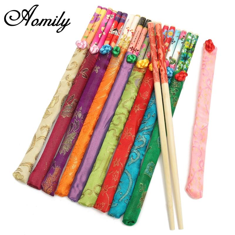 Aomily 10 par/set palillos bambú natural tradicional Vintage hecho a mano China cena respetuoso con el medio ambiente Hashi Individual envuelto