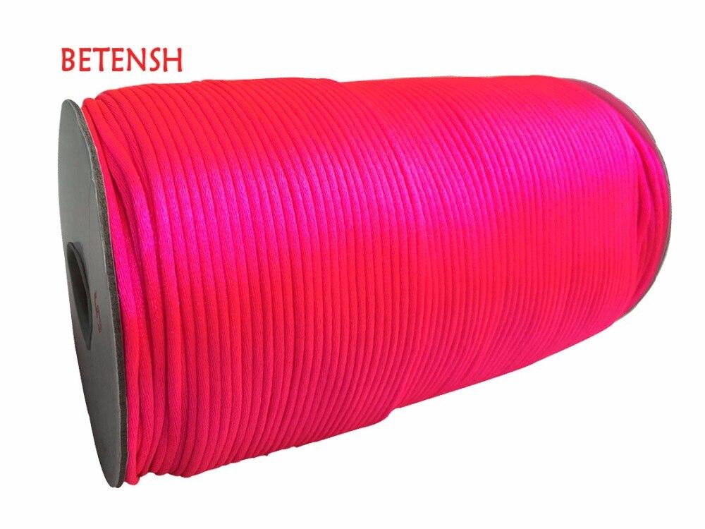 100% + cordón de nailon satinado de raso + 350 m/rollo + 2mm accesorio de joyería rosa de neón macramé cuerda pulsera cuentas cordones