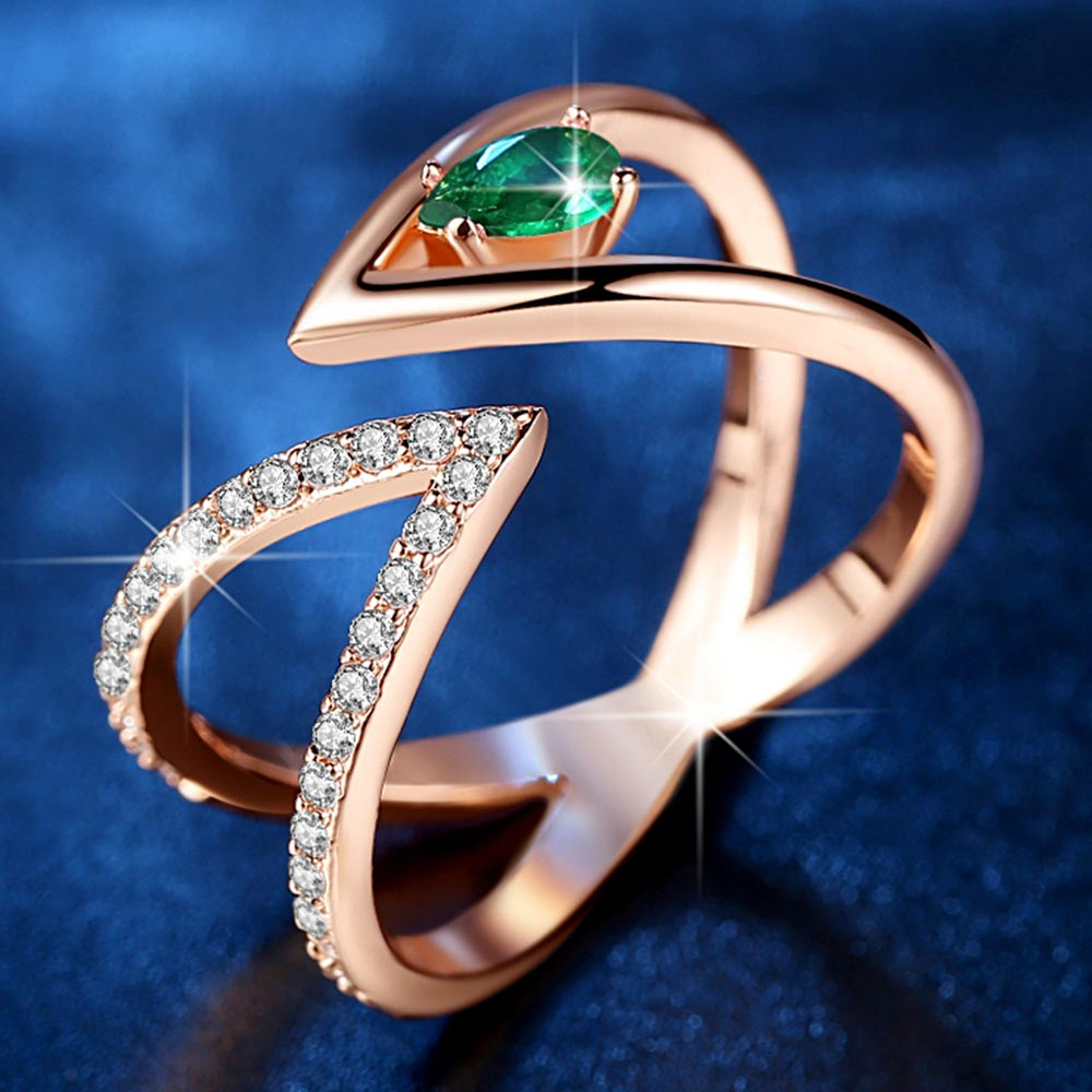 Кольцо на палец Beiver, розовое золото, цвета AAA + кубический циркониевый фианит