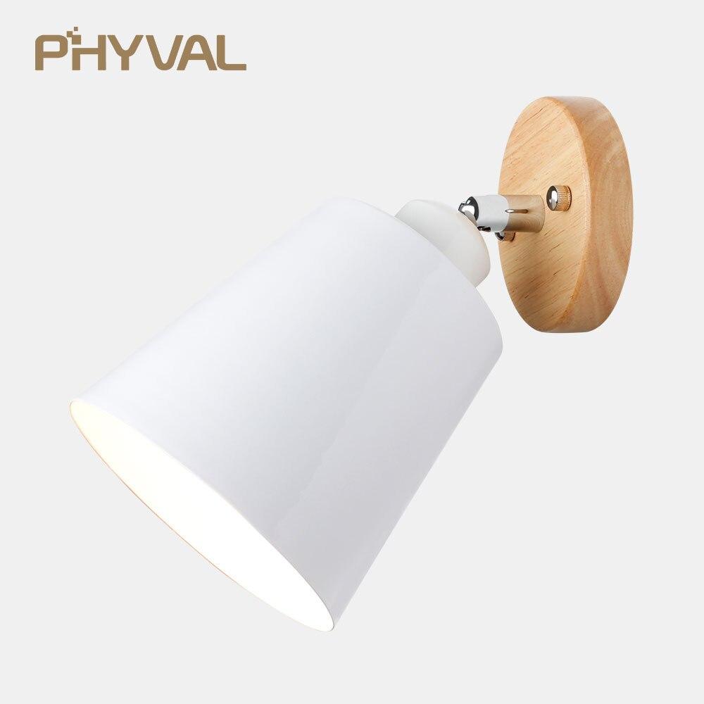 LED luz de pared moderno nórdicos pared simple lámparas al lado de luces para dormitorio sala de aluminio de madera lámpara de pared decoración del hogar E27