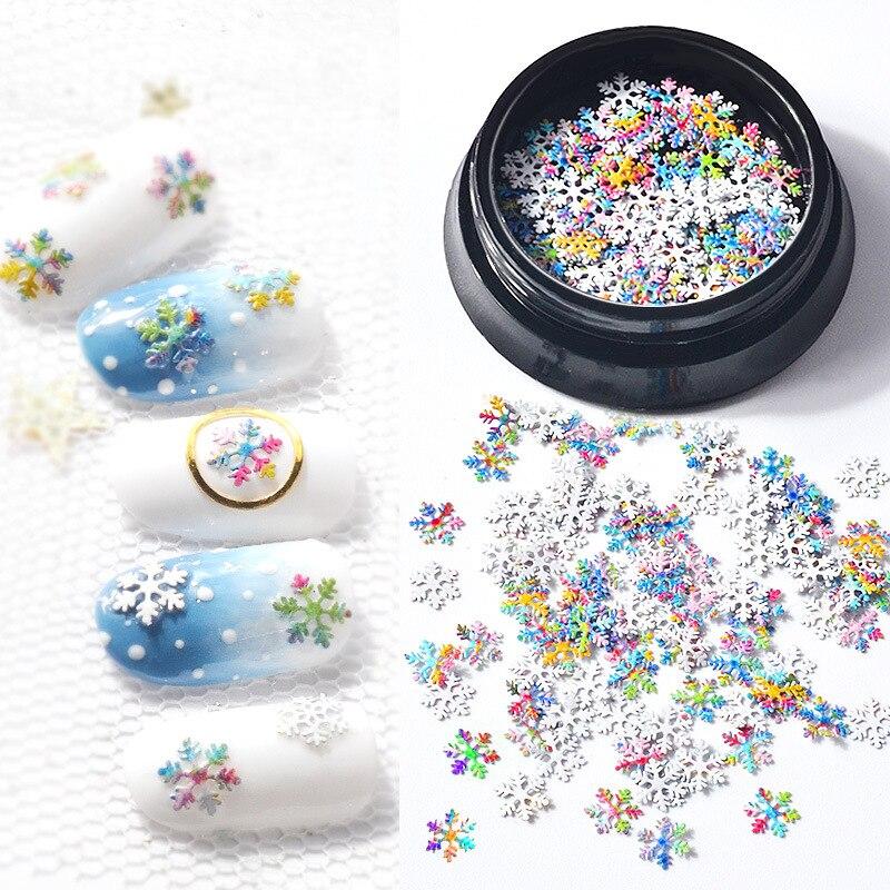 1 caja 5MM decoración de uñas decoración de Navidad ornamento 3D ultrafino colorido copo de nieve lentejuelas pegatina consejos ACCESORIOS DE MANICURA