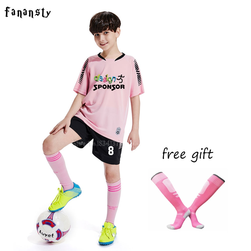 High quality soccer jerseys for kids short sleeve survetement football 2019 boys soccer set uniforms Customized kits New