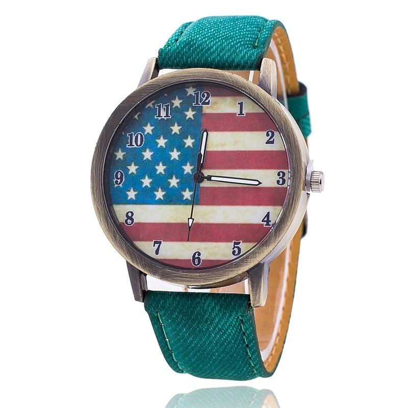 New Fashion Jeans Watch Women USA Flag Quartz Watches Unisex Casual Wrist Watch Relogio Feminino Chr