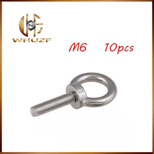 10 unids/lote M6 * 12 304 pernos de acero inoxidable de elevación de anillo redondo perno de gancho