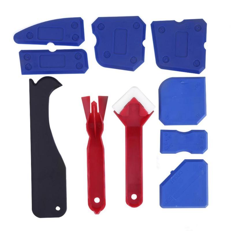 10 Uds. De rasqueta de silicona para puertas y ventanas de vidrio, removedor de hogar, sellador de acabado de calafateo, raspador suave, Kit de herramientas