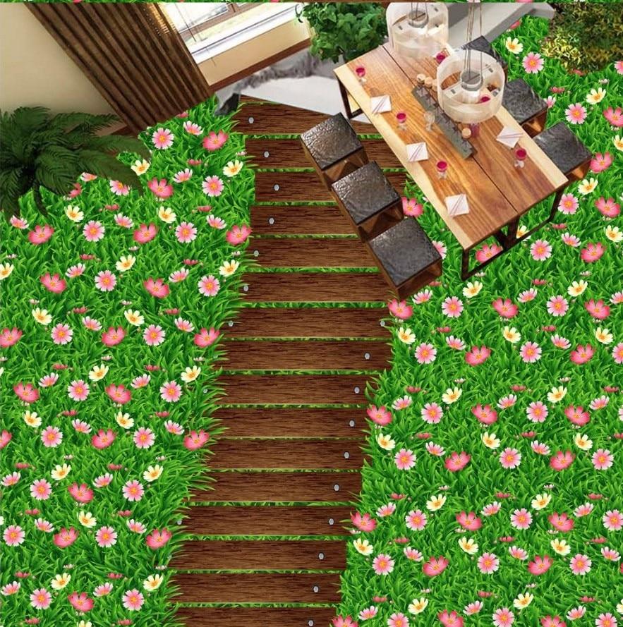 Envío Gratis 3D estéreo de madera camino flor fresca hierba verde-de PVC adhesivo mural para piso