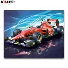 F1 racing 5D bricolage   Peinture diamant, point de croix, broderie diamant rond complet, photos de voiture, strass, mosaïque diamant, décor de maison