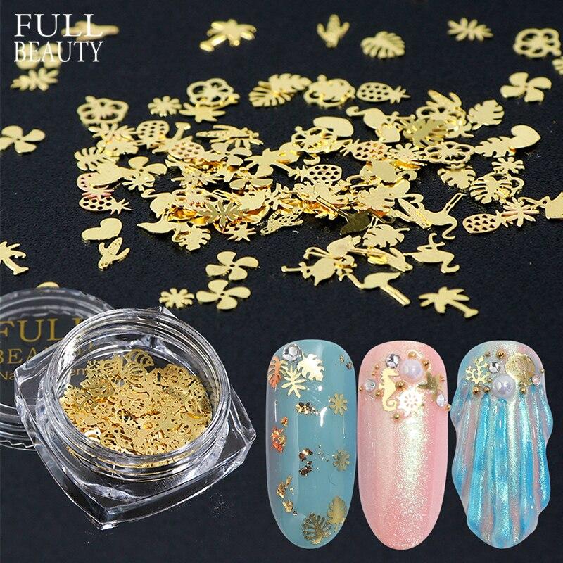 120 stücke Mischen Gold Flakes Nagel Paillette Glitter Blume Meer Shell Metall Nagel Kunst Dekorationen Sommer Scheibe 3D Nagel Zubehör CH970