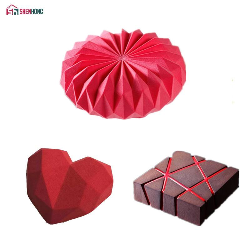 SHENHONG 3 unids/set Origami rejilla con forma de diamantes bloque de silicona molde de pastel para hornear Mousse de Chocolate moldes de esponja cacerolas decoración de pasteles