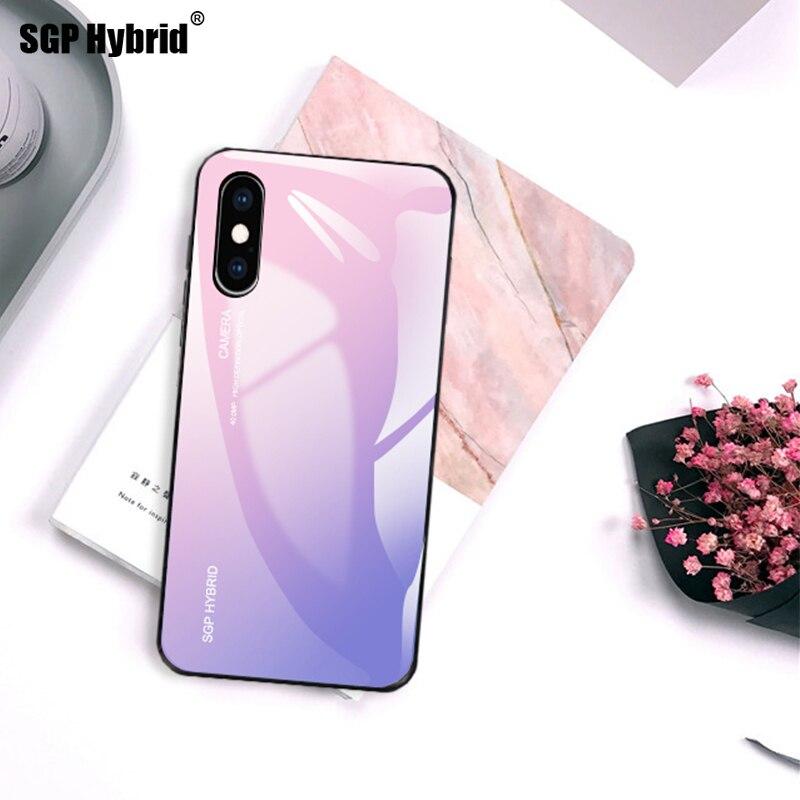 Gradiente Aurora Vidro Temperado Casos Para i telefone XR XS Max X 6 7 8 plus 6 s 5S 10 s 10r 10 rx sx Caso Luxo Colorido Capa Shell