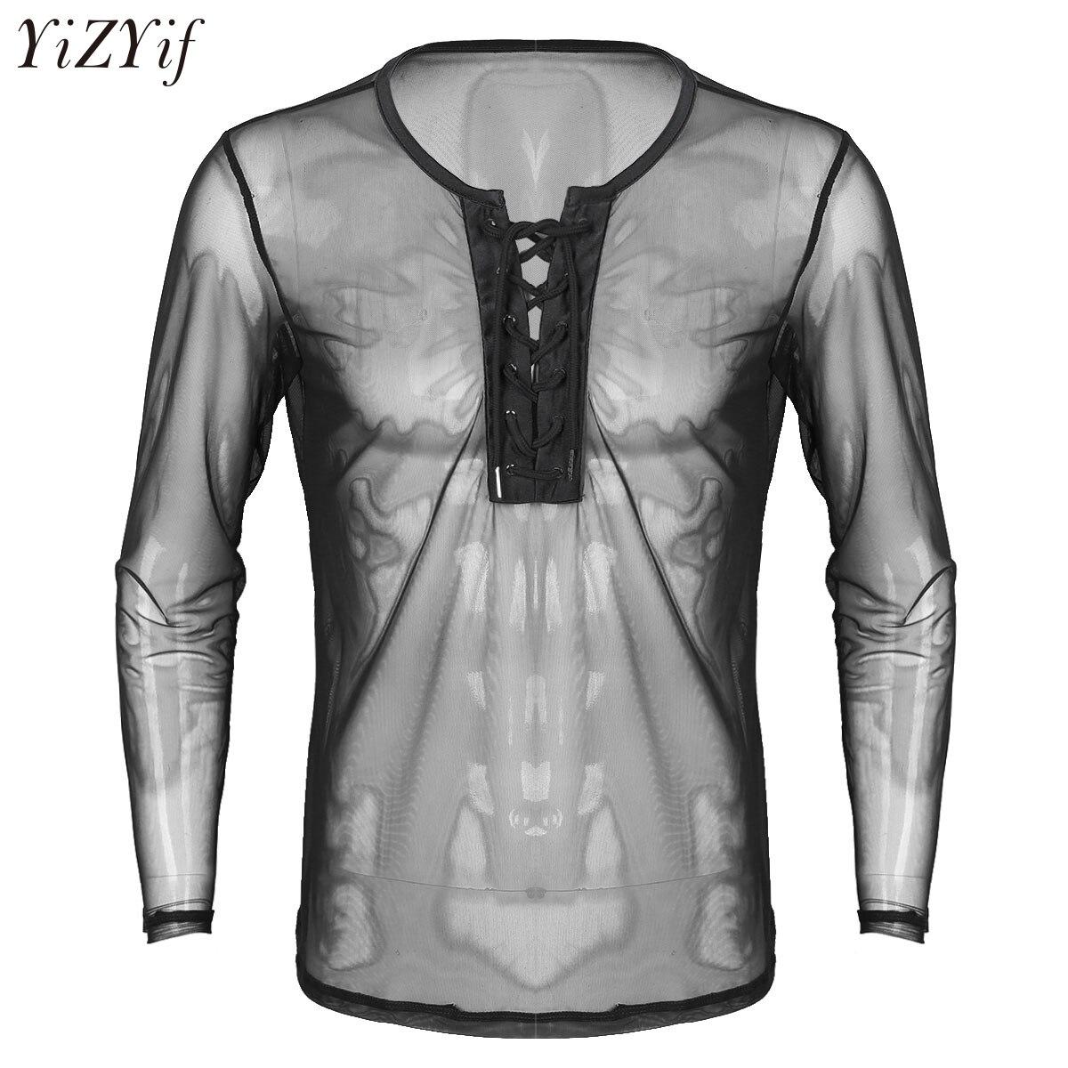 YiZYiF Mens Sexy Lace Up Mesh See Through Long Sleeve T-Shirt Men Sexy Summer Club wear Costumes Undershirts Sheer Fishnet Tops