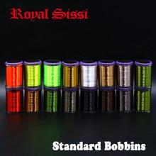 Royal Sissi 8 bobines ensemble 75D haute résistance mouche attachant le fil avec bobine standard 250yds/bobine hybride filaments 8/0 fil ciré
