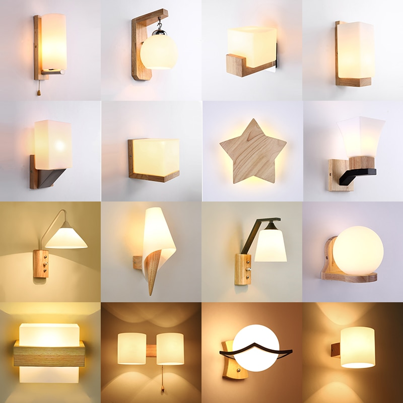 Nordic Massivholz Led Wand Lampe Lustre Glas Wohnzimmer Led Wand Leuchten Schlafzimmer Led Wand Lichter Corrdior Wand leuchte