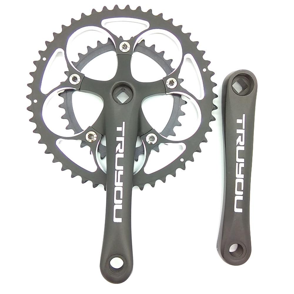 TRUYOU 110 BCD 50/34T Crankset Road Bicycle Chainwheel Folding Bike Chainrings 2*7/8/9 Speed Double Disc Crank 170mm Black