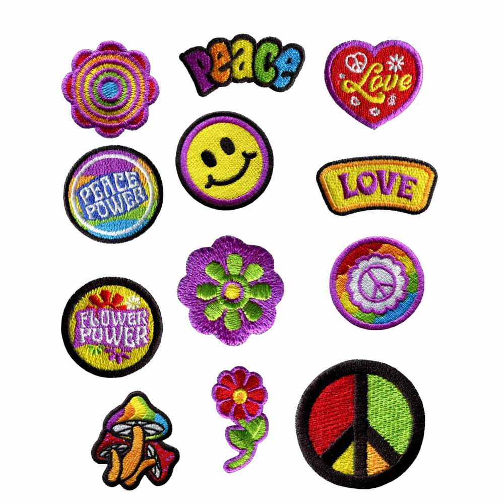 12PCS Hippie High quality beautiful Lovely Embroidered Patch sewing or ironing fabric bagde for baby