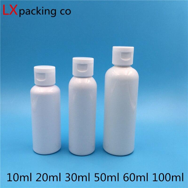50 Uds 10 20 50 60 100 ml botellas de tapa de plástico blanco para Perfume Paquete de agua contenedor cosmético cuidado de la piel banco de viaje