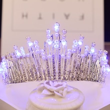 Couronne brillante perle mariage diadème bleu blanc lumière couronne avec LED strass femmes cheveux accessoires tête bijoux nuptiale casque
