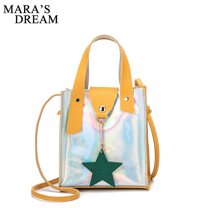 Mara es el sueño de nuevo bandolera laser Harajuku marca dulce borla Color sólido mujeres embrague bolso de chica, bolso Bolso saco principal