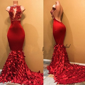 PEORCHID Satin Lace Evening Dresses Mermaid Open Back Sexy Robe Longue Soiree 2019 Elegant Red Long Formal Dress Party Gown
