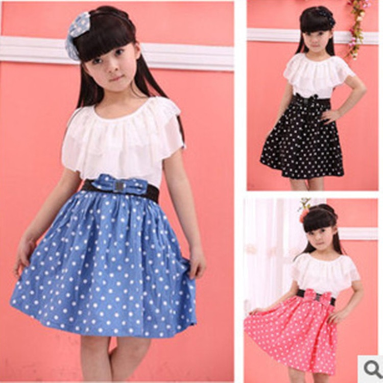kid girl dress summer new bow floral dot princess dress children's clothing 3 colors