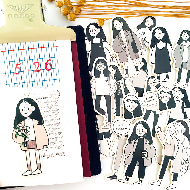 17 PCSSET Japanese Cute Female InternAnime CharacterKawaii Girl Diy Ablum Diary Scrapbooking Decoration Stationery Stickers