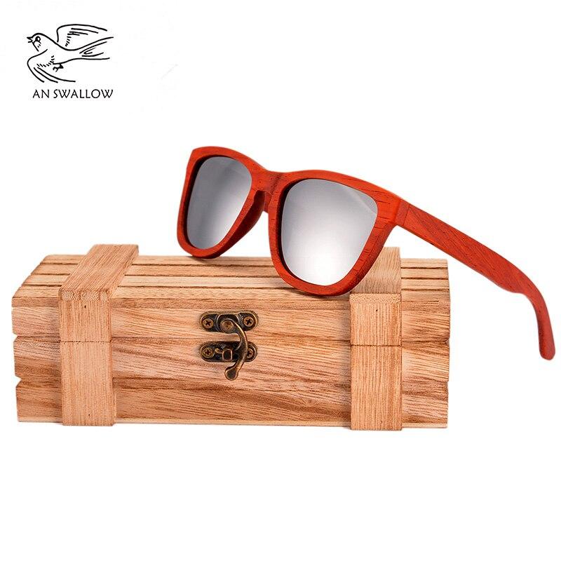 Moda Retro de madera Natural polarizado UV400 lentes de sol para dama de moda de diseñador gafas de sol de las mujeres de alta calidad rojo gafas de sol