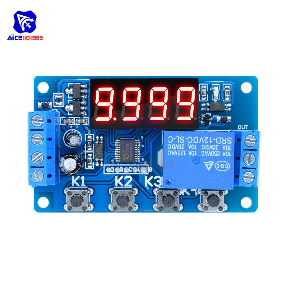 DC 12V реле задержки таймера цифровой светодиодный дисплей программируемый Многофункциональный триггер время цепи управления цикл переключатель PLC модуль