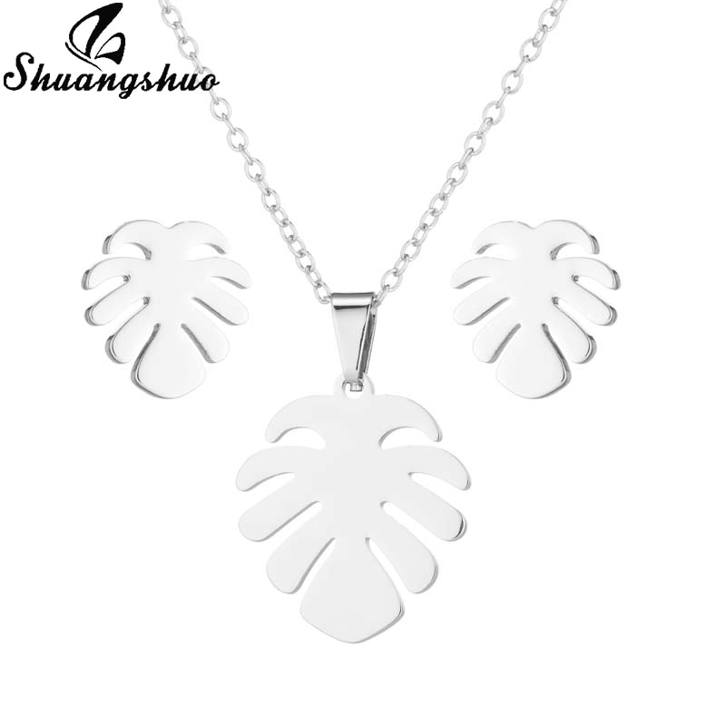 Женские серьги Shuangshuo, модное ожерелье из нержавеющей стали с узором в виде листика и кокосовой пальмы