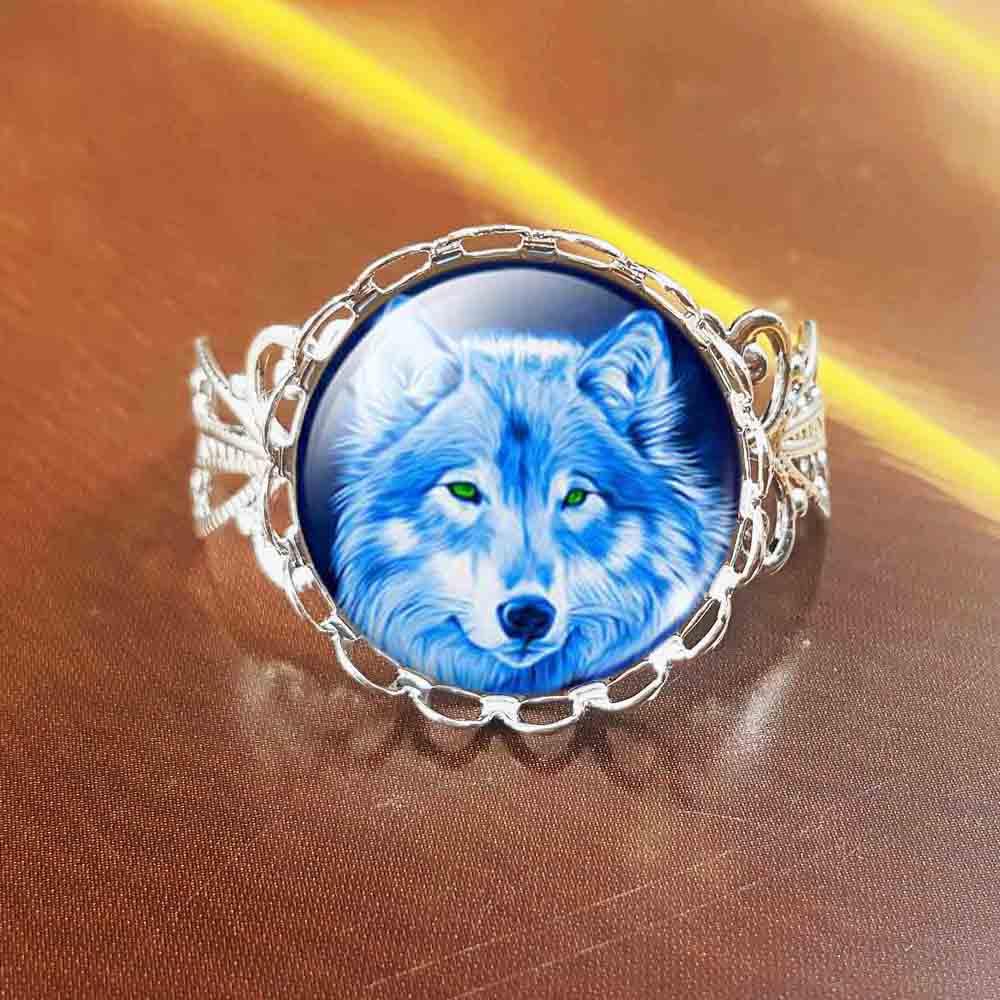 QiYuFang, Крутое кольцо с волком для подростков, винтажная бронзовая цепочка, ювелирное изделие, Летний стиль, Стеклянные Кабошоны, кольца для ж...