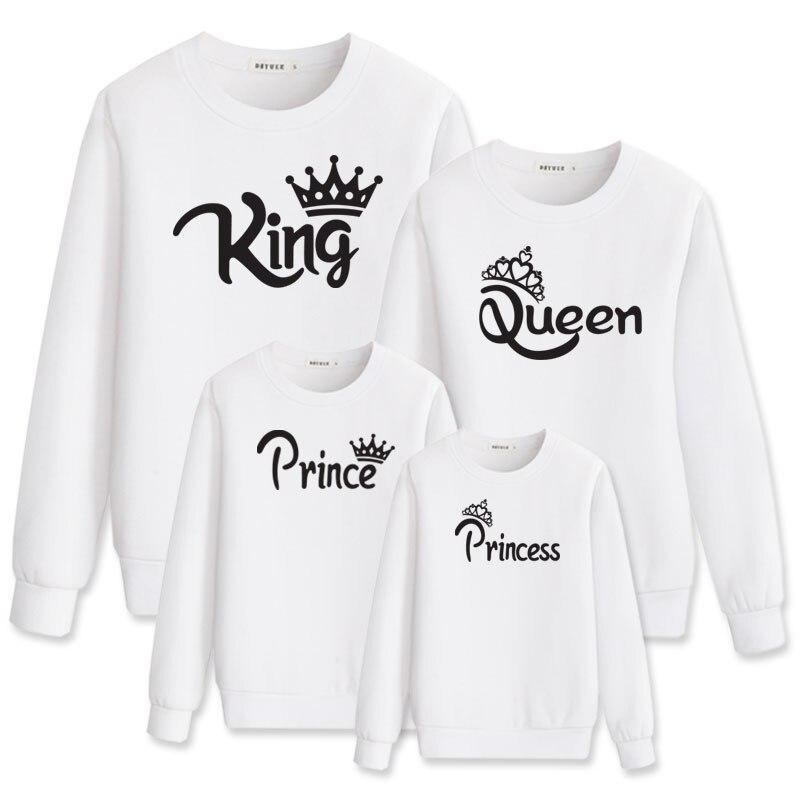 Trajes de princesa Rey reina Príncipe ropa de papá ropa para Familia a juego hoody madre hija mirada mamá vestido y yo bebé conjunto
