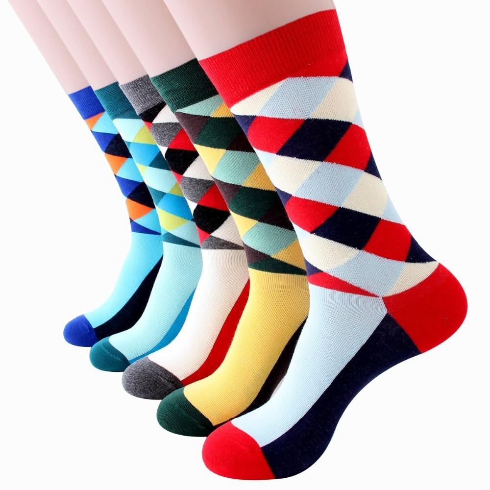 Sport socks men cotton Japanese diamond spot hot selling mens fashion trend lattice happy couple sock
