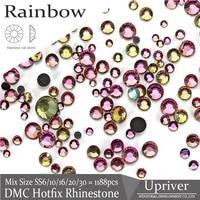 upriver shiny color rainbow all sizes dmc hotfix rhinestones strass diy design stones