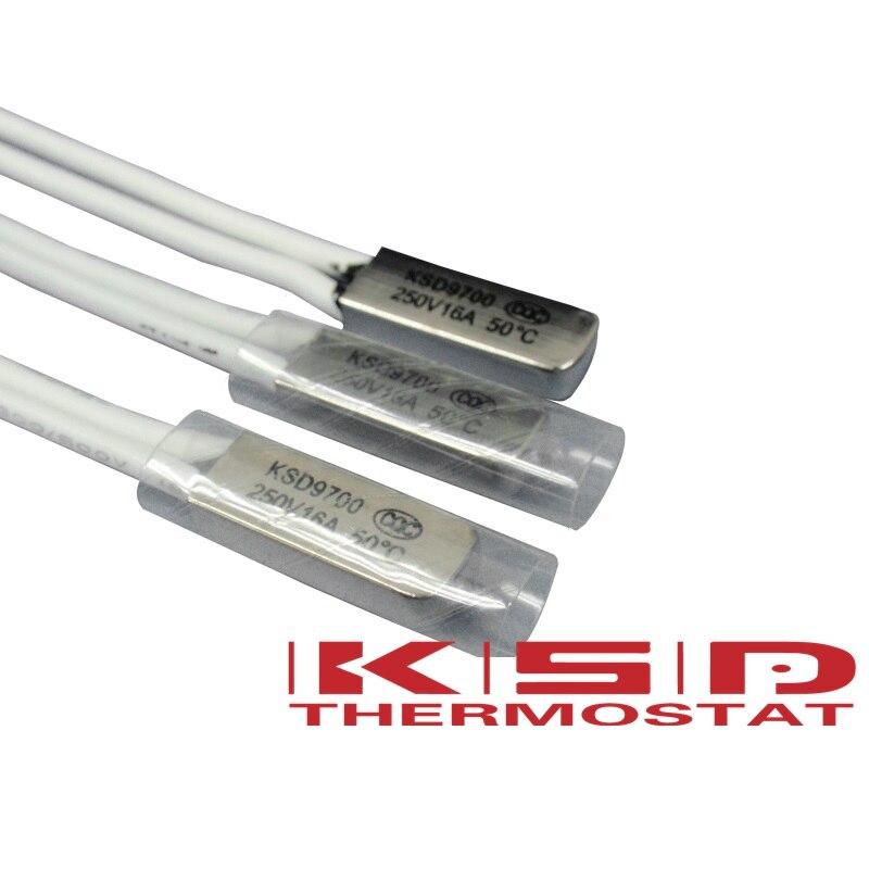 5 STÜCKE KSD9700 Thermostat 50C normal geschlossen 16A 250 V Temperatur Thermische Steuerschalter 55/60/65/70/75/80/85/90/95/100/105